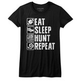 Monster Hunter Hunt Repeat Black Junior Women's T-Shirt