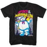 The Real Ghostbusters Marshmallow Attacks Black T-Shirt