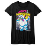 The Real Ghostbusters Marshmallow Attacks Black Junior Women's T-Shirt