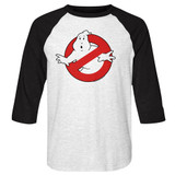 The Real Ghostbusters Symbol White/Black Raglan T-Shirt