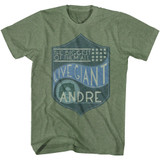 Andre The Giant Biggest Of Them All Military Green Heather Adult T-Shirt