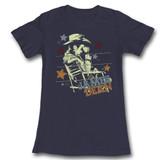 James Dean Cowboy Navy Junior Women's T-Shirt