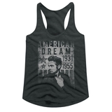 James Dean Dream Dark Gray Junior Women's Racerback Tank Top T-Shirt