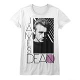 James Dean Old Skool White White Junior Women's T-Shirt