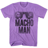 Macho Man Ooold School Neon Purple Heather Adult T-Shirt