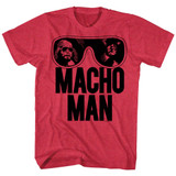 Macho Man Ooold School Cherry Heather Adult T-Shirt
