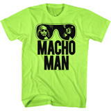 Macho Man Ooold School Neon Green Heather Adult T-Shirt