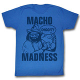 Macho Man Blue On Blue Royal Adult T-Shirt