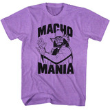Macho Man Macho Mania Neon Purple Heather Adult T-Shirt