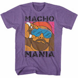 Macho Man Mania Retro Purple Heather Adult T-Shirt