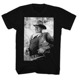 John Wayne Black And White Black Adult T-Shirt