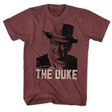 John Wayne Duke Vintage Maroon Heather Adult T-Shirt