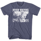 John Wayne Made In America Vintage Blue Heather Adult T-Shirt