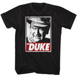John Wayne Tha Duke Black Adult T-Shirt