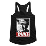 John Wayne Tha Duke Black Junior Women's Racerback Tank Top T-Shirt