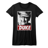 John Wayne Tha Duke Black Junior Women's T-Shirt