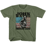 John Wayne American Legend Military Green Youth T-Shirt