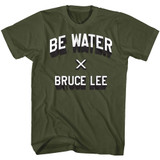 Bruce Lee Be Water Military Green Adult T-Shirt