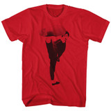 Bruce Lee Kick Red Adult T-Shirt