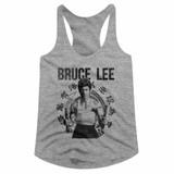 Bruce Lee Chux Gray Heather Junior Women's Racerback Tank Top T-Shirt