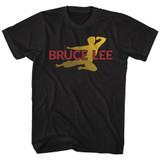 Bruce Lee Flying Oval Black Adult T-Shirt