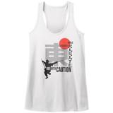 Hai Karate Use With Caution White Junior Women's Racerback Tank Top T-Shirt