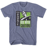 Hai Karate Green Chop Vintage Blue Heather Adult T-Shirt