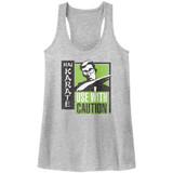 Hai Karate Green Chop Gray Heather Junior Women's Racerback Tank Top T-Shirt