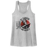 Hai Karate Careful Gray Heather Junior Women's Racerback Tank Top T-Shirt