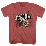 Flash Gordon Map/Rocket/Flash Red Heather Adult T-Shirt