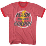 Flash Gordon Aaaaa Hhhhh! Red Heather/Red Adult Ringer T-Shirt