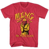 Flash Gordon Ming The Merciless Cherry Heather Adult T-Shirt