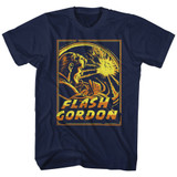 Flash Gordon Space Explosion Navy Adult T-Shirt