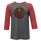 Flash Gordon Bolt Gray Heather/Red Heather Adult 3/4 Sleeve Raglan T-Shirt