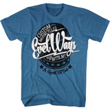 Evel Knievel Evel Ways Pacific Blue Heather Adult T-Shirt