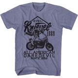 Evel Knievel Evel Jump Good Vintage Blue Heather Adult T-Shirt