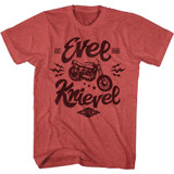 Evel Knievel One Evel Motorcycle Red Heather Adult T-Shirt