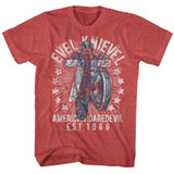 Evel Knievel Seventy Five Red Heather Adult T-Shirt