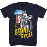 Evel Knievel Stunt Cycle Navy Adult T-Shirt
