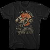 Evel Knievel Death Defier Black Adult T-Shirt
