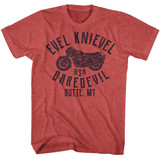 Evel Knievel USA Daredevil Red Heather Adult T-Shirt