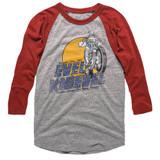 Evel Knievel Danger Zone Gray Heather/Red Heather Adult Raglan Baseball T-Shirt