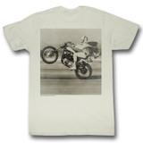 Evel Knievel Wheelie Natural Adult T-Shirt