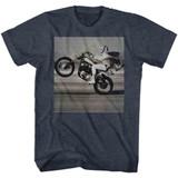 Evel Knievel Wheelie Navy Heather Adult T-Shirt