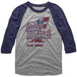 Evel Knievel Logo Tee Gray Heather/Blue Heather Adult Raglan Baseball T-Shirt
