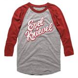 Evel Knievel Bright Gray Heather/Vintage Red Adult Raglan Baseball T-Shirt