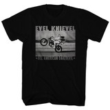 Evel Knievel Fade Daredevil Black Adult T-Shirt