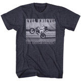 Evel Knievel Fade Daredevil Navy Heather Adult T-Shirt