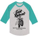 Evel Knievel Jump Grey/Mahi Adult Raglan Baseball T-Shirt