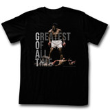 Muhammad Ali Greatest Of All Time Black Adult T-Shirt